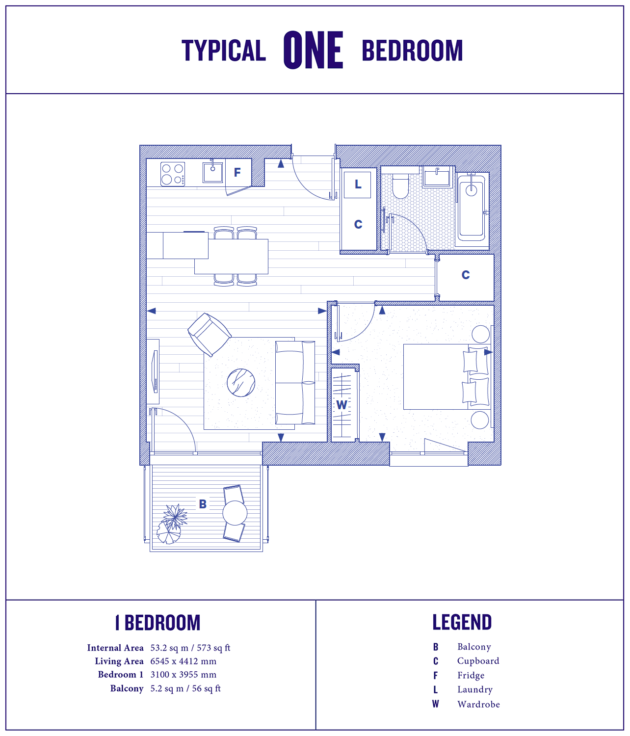 1 Bed Floorplan Large