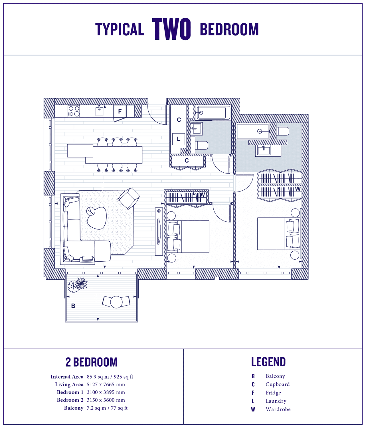 2 Bed Floorplan Large